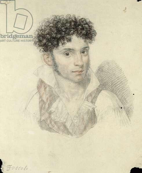 Portrait of Ugo Foscolo (1778-1827) (pencil on paper)