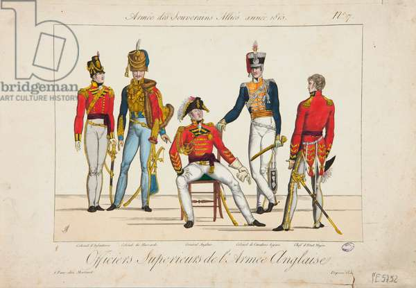 Superior Officers of the English Army, Army of Allied Sovereigns, 1815 (coloured engraving)