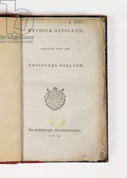 Napoleon code for the Kingdom of Holland, open at the titlepage, published Koninklijke Staatsdrukkerij, 1809 (printed paper)