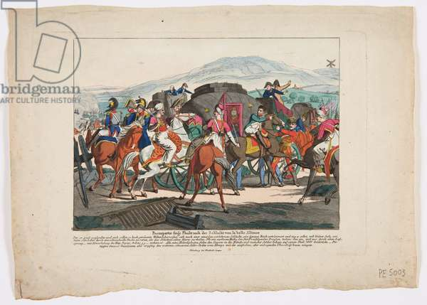 The Flight of Napoleon from the Battle of Waterloo, 1815 (coloured etching)