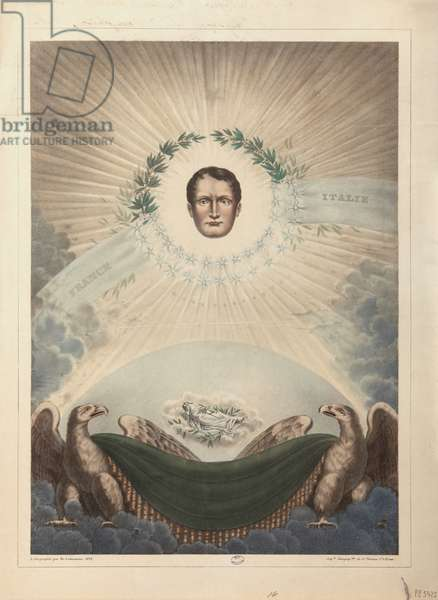 Allegory of Napoleon surrounded by a laurel wreath and a star, and below, Napoleon in death wrapped in a shroud, 1828 (litho)