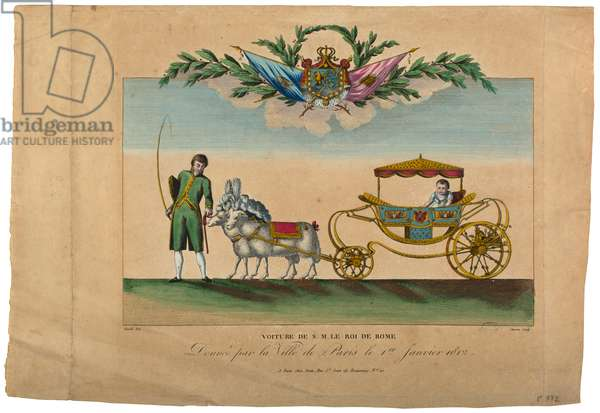 The carriage of the King of Rome, given by the city of Paris, 1st January 1812 (coloured engraving)