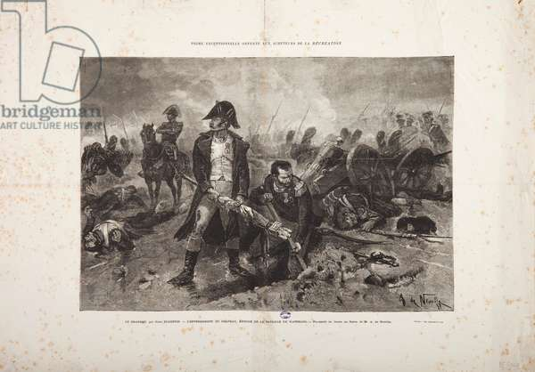 The Burial of the flag, episode of the Battle of Waterloo, engraved by Jules Claretie (engraving)