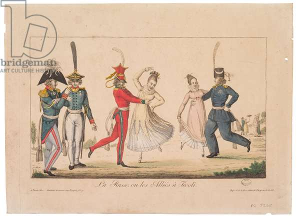 Les Russes ou les Allies a Tivoli, 1815 (colour litho)