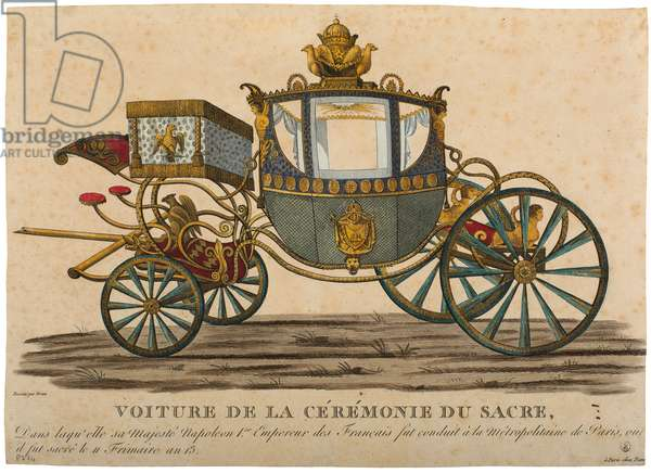 Carriage for the Coronation of Emperor Napoleon I, which took place on 11 Frimaire, Year XIII (coloured engraving)