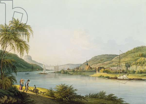 View of the southern part of Schandau on the Elbe in Saxony on the border of Bohemia (engraving with watercolour)