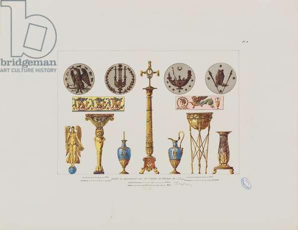 Details and ornaments from the studio of painter C.I. Isabey, from 'Recueil de décorations intérieures comprenant tout ce qui a rapport à l'ameublement', published Paris, 1801 (coloured engraving)