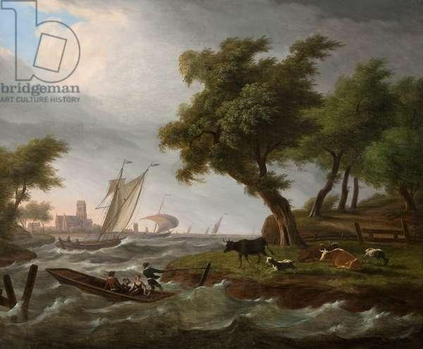 Dutch landscape (oil on canvas)