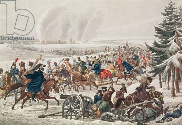 The French Army Retreat over the River Berezina, 26th November 1812, engraved by J.A. Klein (coloured engraving)