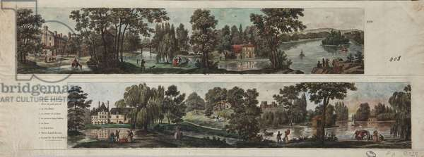 Two views of Mortefontaine Park with captions (etching with w/c on paper)