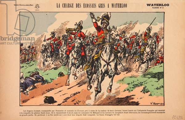 Charge of the Royal Scots Greys at the Battle of Waterloo, c.1920 (colour litho)