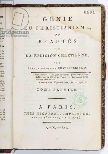 Title page of the 'Genie du Christianisme ou Beautes de la Religion Chretienne', volume I, chez Migneret Imprimeur, Paris, 1802 (printed paper)
