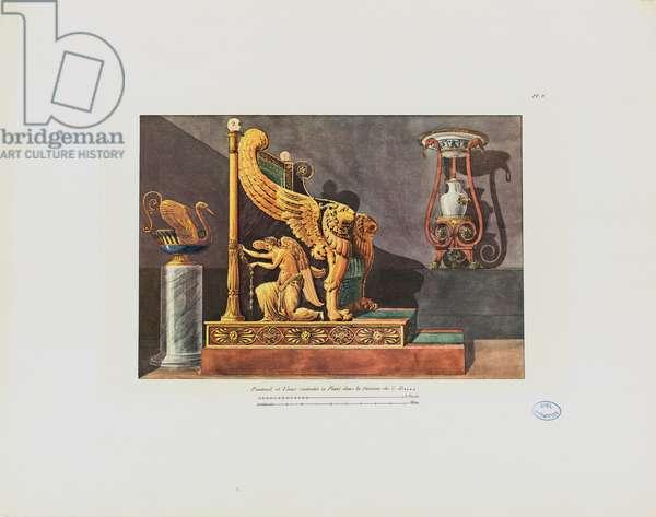 Armchair and vase in the house of C.D., from 'Recueil de décorations intérieures comprenant tout ce qui a rapport à l'ameublement', published Paris, 1801 (coloured engraving)
