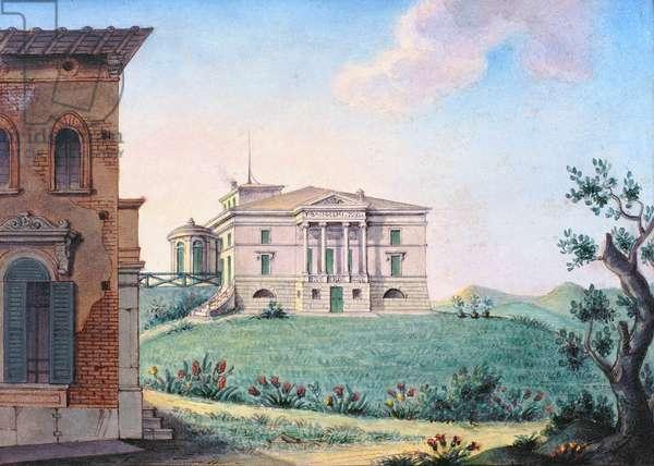 Belpoggio, Villa Baciocchi, Bologna (w/c & gouache on paper)