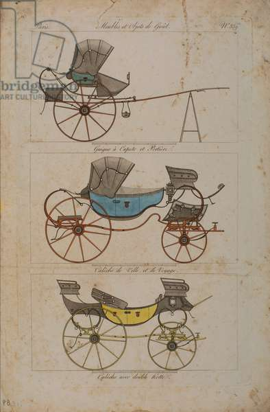 Furniture and Objects of Taste, No. 32, Phaeton Simple (coloured engraving)