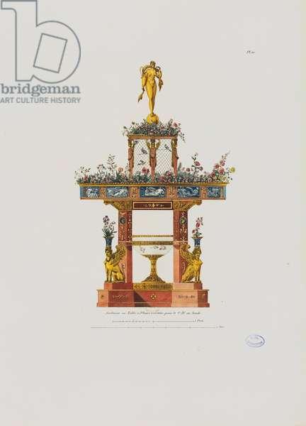 Garden, or flower table, from 'Recueil de décorations intérieures comprenant tout ce qui a rapport à l'ameublement', published Paris, 1801 (coloured engraving)