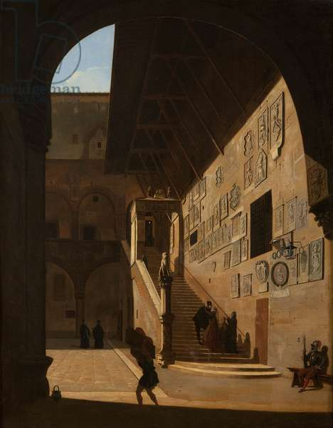 Interior view of the Old Palace of the Republic in Florence (now Palazzo del Popolo or Bargello) 1822 (oil on canvas)