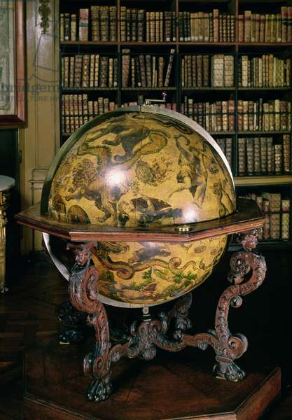 Celestial globe with the coat of arms of Nicolas Fouquet (1615-80) 1693 (wood)