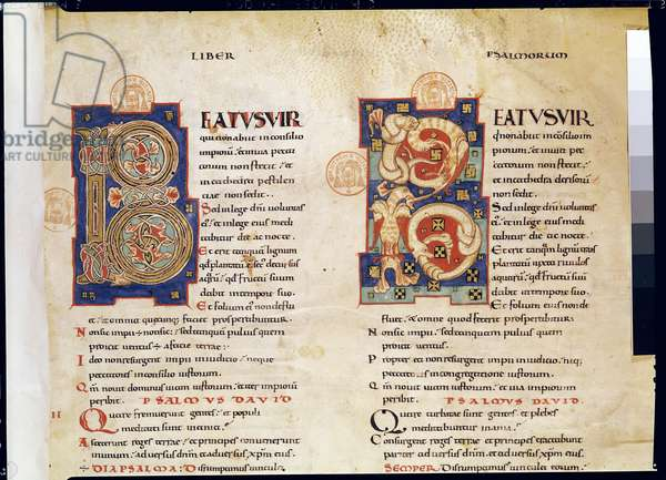 Ms 1 & 2 fol.1 The Psalms, from a Latin Bible (vellum)