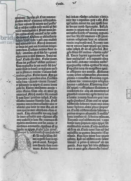 Vol. 1 fol.25 Page from 'Exodus', The Gutenberg Bible, printed by Johannes Gutenberg (1400-68) Mainz, 1454-56 (paper) (b/w photo)