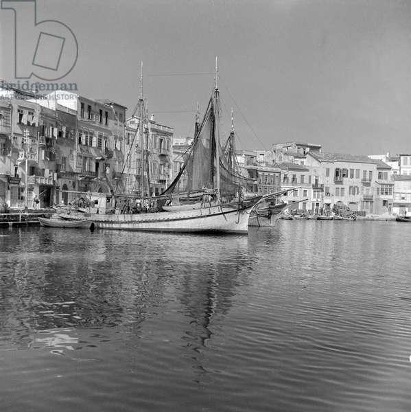 The harbour of Chania, Crete, 1939 (b/w photo)