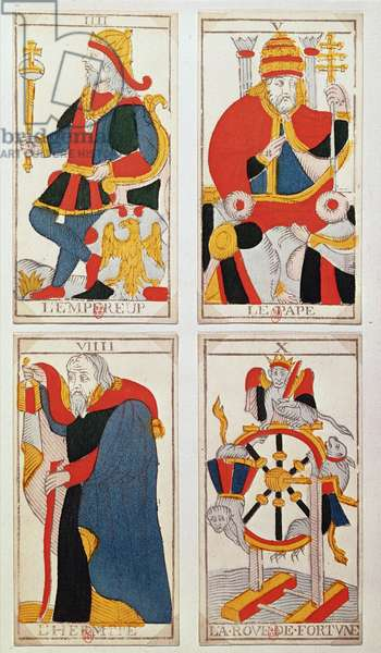 Four tarot cards depicting The Emperor, The Pope, The Hermit and The Wheel of Fortune (coloured wood engraving)
