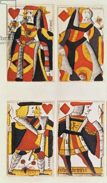 Queen and Jack playing cards (coloured wood engraving)