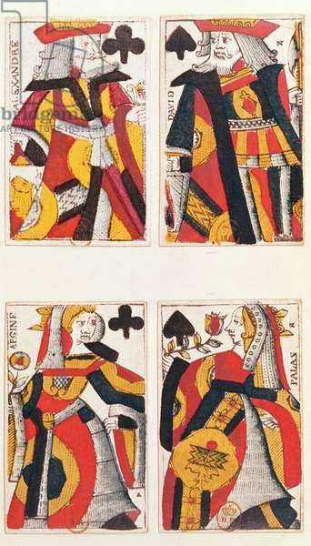King and Queen playing cards (coloured wood engraving)