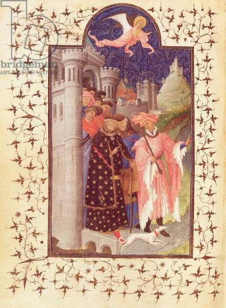 Ms Lat 18014 f.288v The Departure of Jean de France (1340-1416) Duke of Berry, from Les Petites Heures de Duc de Berry, c.1412 (vellum)
