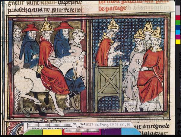 Ms Fr 22495 Fol.15 The Council of Clermont and The Arrival of Pope Urban II (c.1035-99) in France, from Le Roman de Godefroi de Bouillon, 1337 (vellum)