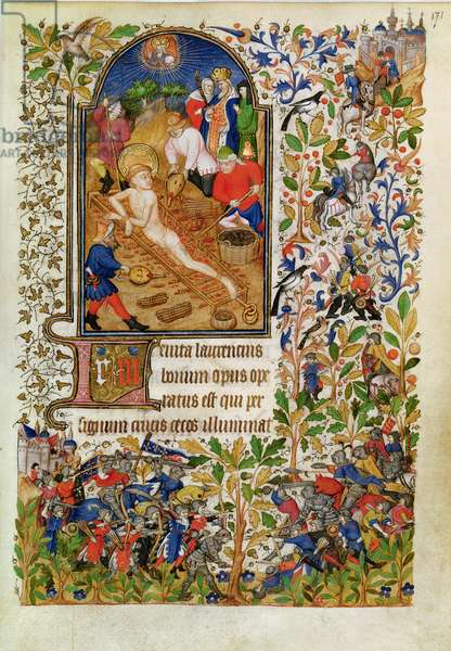 Ms Lat 1156b fol. 171 The Martyrdom of Saint Lawrence, from the Hours of Marguerite d'Orleans, c.1426 (vellum)
