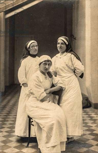 Portrait of Three Nurses, France, c.1915 (postcard)