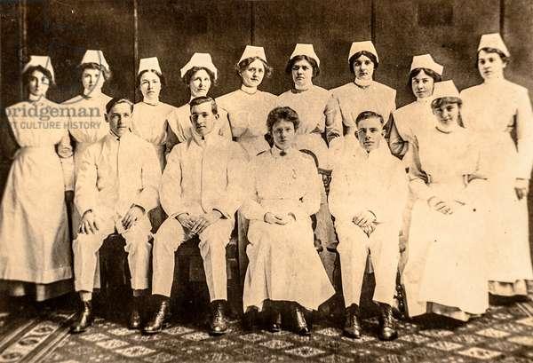Group Portrait of Doctors and Nurses, c.1910s (postcard)