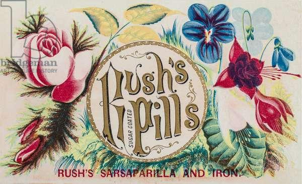 Rush's Pills Advertisement, Fahnesstock, New York, USA, c.1890 (illustration)
