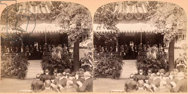 Founding of the Alexander Hospital in St. Petersburg  by the Emperor and Empress of Germany, 1897, St. Petersburg, Russia, 1897 (stereoview)