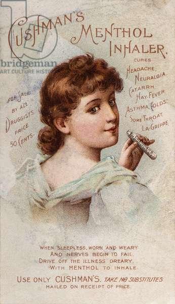 Cushman's Menthol Inhaler Advertisement, Chicago, IL, USA, c.1890 (illustration)