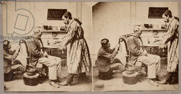 Dentist, Showing Patient Extracted Tooth I, c.1875 (stereoview)