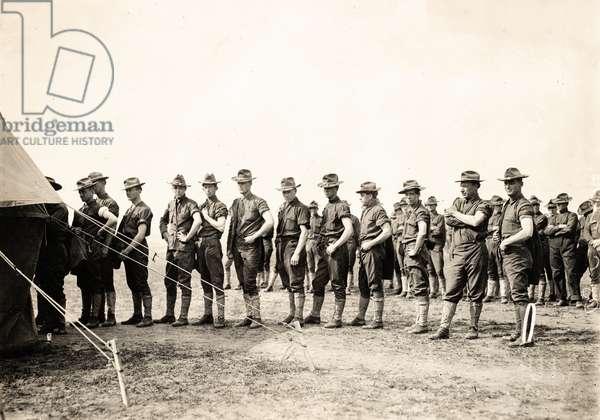 Company C of the 28th Infantry Preparing to be Vaccinated. San Antonio, Texas, WWI, San Antonio, TX, USA, 1918 (silver gelatin print)
