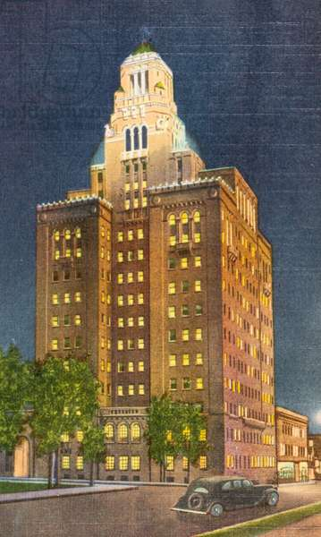 The Mayo Clinic by Night, Rochester, Minnesota, USA (postcard)