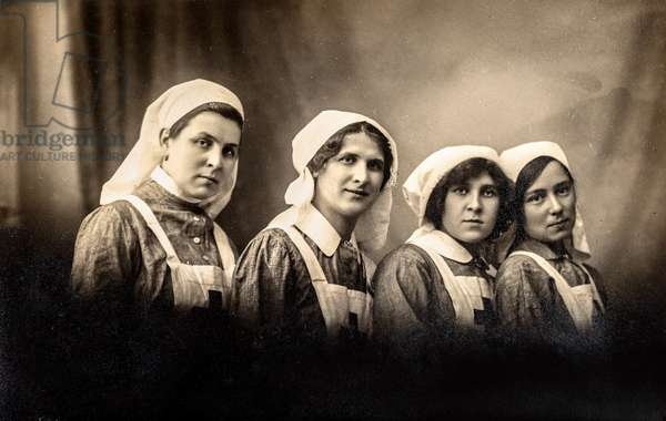 Portrait of Four Nurses, Russia, c.1915 (postcard)