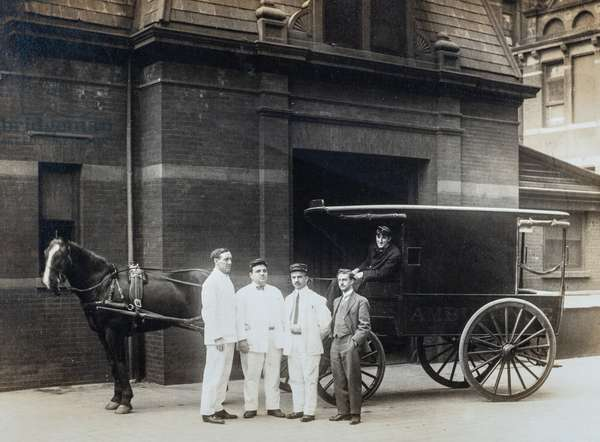 Four Attendants and a Doctor Pose with Horse-Drawn Ambulance, Methodist Episcopal Hospital, Brooklyn NY, c.1910 (silver gelatin print)