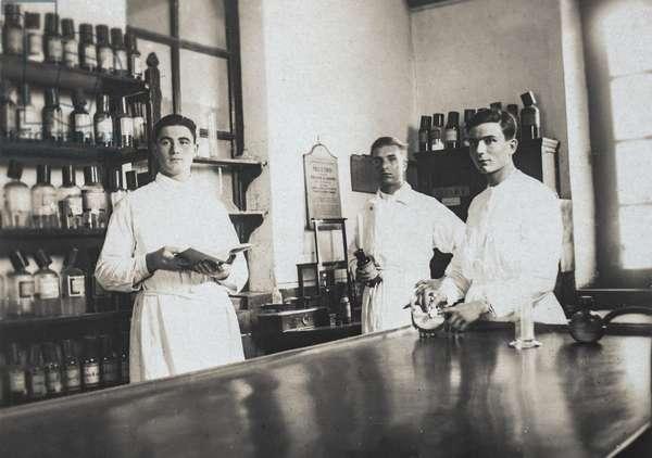 Three Pharmacists Posing in Laboratory, France, c.1905 (postcard)