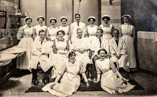 Group Portrait of Doctors and Nurses (postcard)