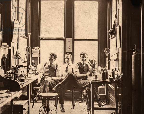 Group Portrait of Three Scientists in a Laboratory, c.1910 (silver gelatin print)
