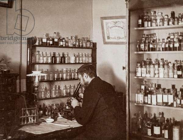 Pharmacist/Physician Looking Through Microscope, New York, USA, c.1895 (silver gelatin print)