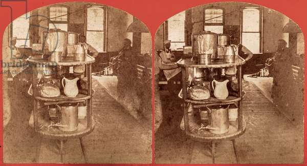 Carts with Food in the Underground Rail Room of the Willard Asylum, Ovid, NY, US, c.1875 (stereoview)