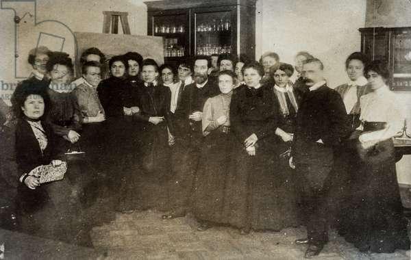 Female Pharmacists in Classroom, Russia, c.1920 (postcard)