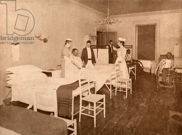 Doctor Checks Patient's Pulse, Philadelphia General Hospital, Philadelphia, PA, 1898 (silver gelatin print)