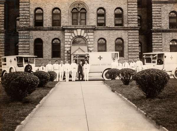 Doctors Pose with Jersey City Hospital Ambulances, Jersey City, NJ, c.1915 (silver gelatin print)