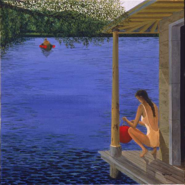 Clara Fishing, 1999 (oil on canvas)
